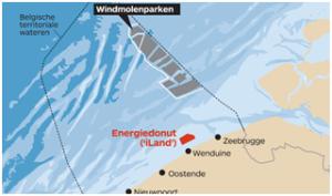 de locatie van het energie atol en de windmolenparken